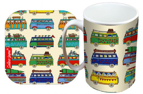 Selina-Jayne Campervan Limited Edition Designer Mug and Coaster Set